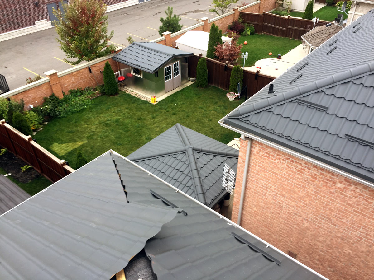 metal roof from above