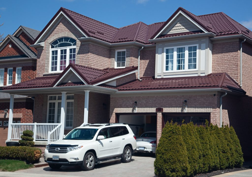 red metal roof installed in Oakville
