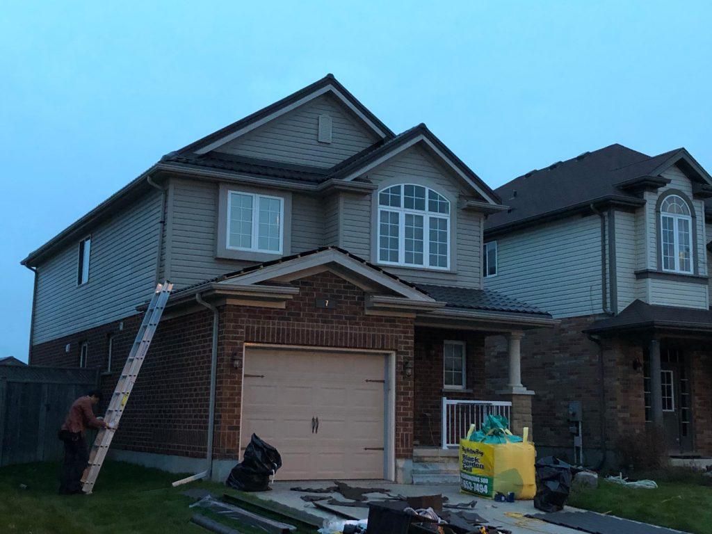 steel roof replacement in progress