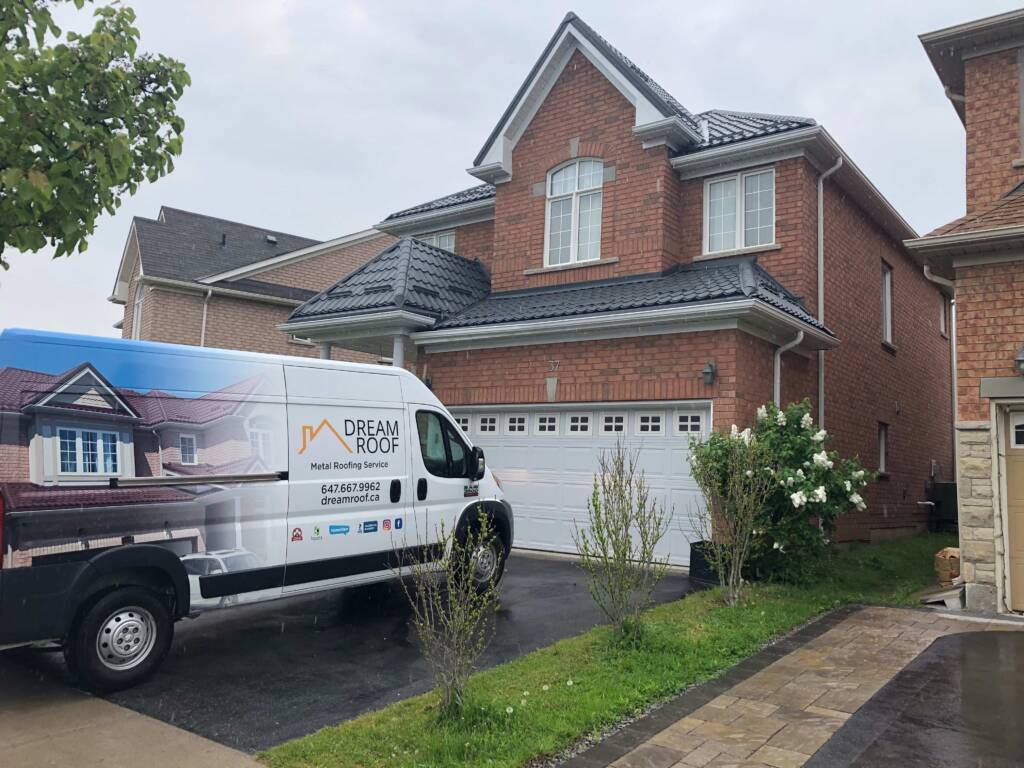 Dream Roof Van in Front of Finished Project of Metal Roof Installation GTA