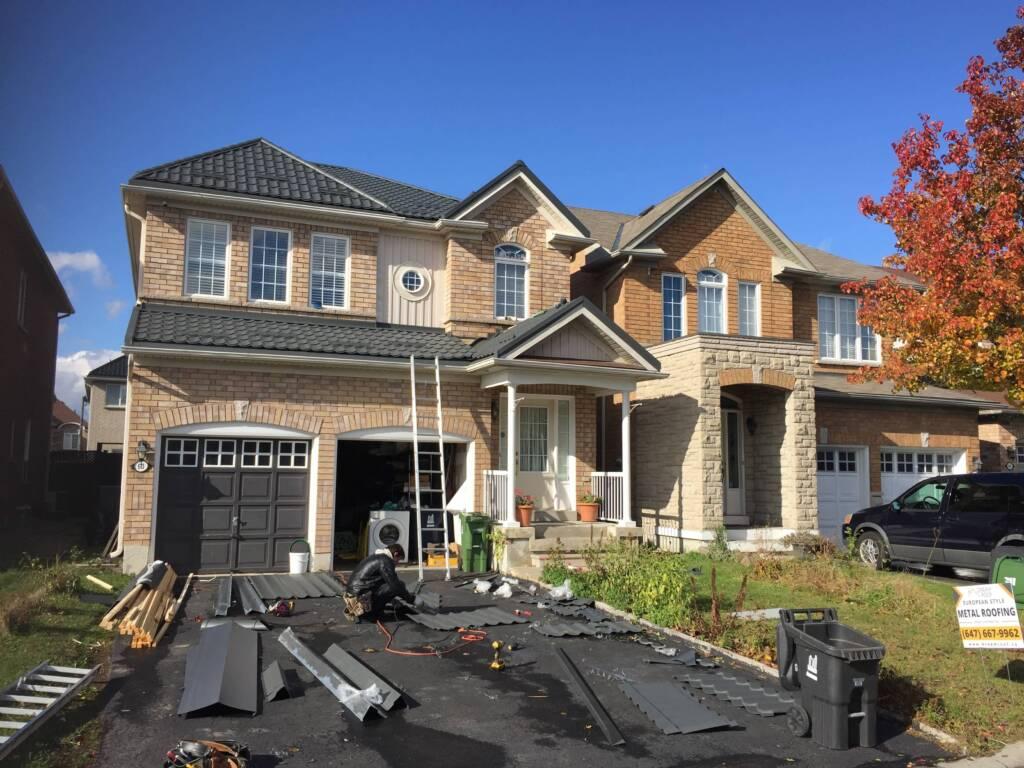 In Progress of Metal Roof Installation Brampton